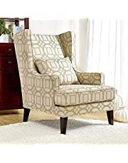 ANNIE Classic Wingback Chair [Beige] Tall Fabric Club Chair for Living Room with Kidney Pillow | Accent Chairs