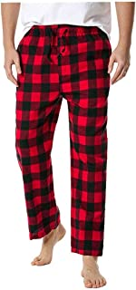 Men's Loose Sleep Bottoms Plaid Flannel Pants Bottoms Casual Pants Sleepwear Underwear 3XL