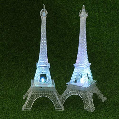 OSALADI 2 Piezas Luces de Noche de la Torre Eiffel lámpara de Mesa led lámpara Colorida Adorno para Sala de Estar Dormitorio Iluminado Pastel Topper figuritas