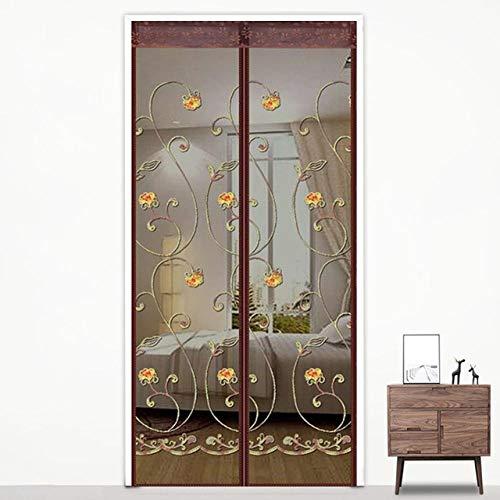 VGFTP® Moskitoschutznetz Magnetvorhänge, Sommer Anti-Moskito-Netz, Magnetvorhänge Weichgarn Tür Tüll (90 * 210cm Farbe: Braun)