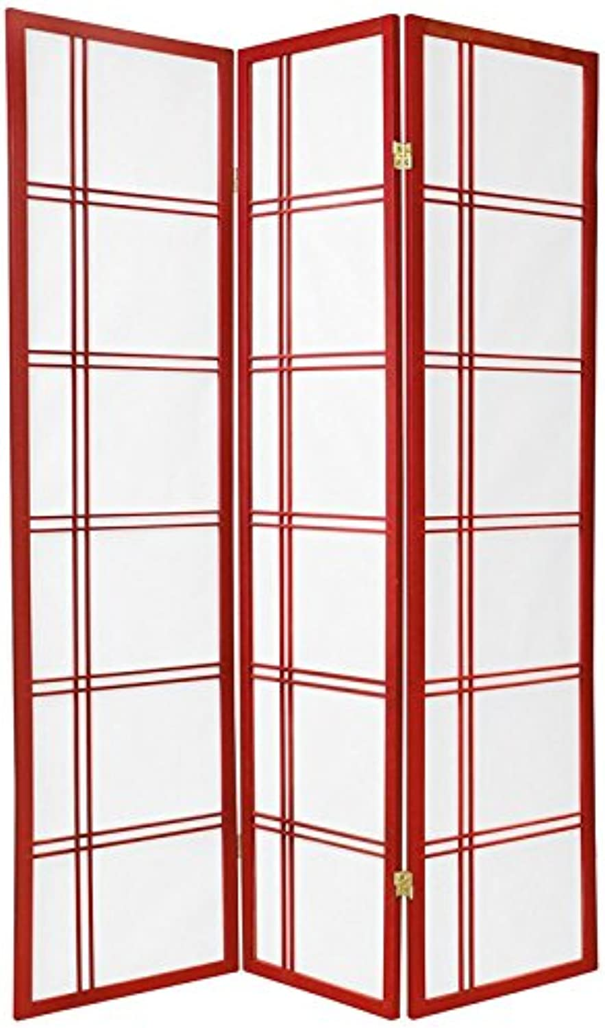 Oriental Furniture 6-Feet Double Cross Japanese Shoji Folding Privacy Screen Room Divider, 3 Panel Red