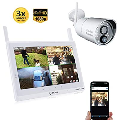"Sequro 1080P 10"" Touchscreen Wireless Surveillance System 1 Outdoor/Indoor Night Vision IP66 Weatherproof FHD Network DVR Home Security IP Cameras Smartphone Access"