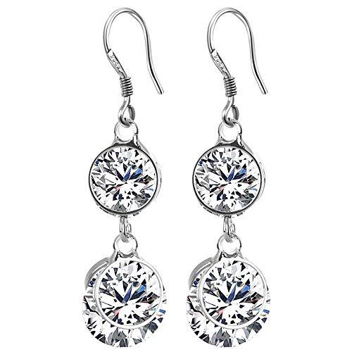 ZLININ Y-longhair - Pendientes largos para niña con diamantes de imitación de circonita, plata 925, hipoalergénicos, regalos