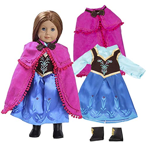 Anna Frozen Inspired Doll Outfit (3 Piece Set) - Clothes Fit American Girl & 18' Dolls & Include Dress, Shawl, Shoes - Premium Costume Apparel for Dolls