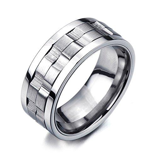 Raffinierten Stil- Herren-Ring- Unisex- Edelstahl- Drehring- Passform(7)