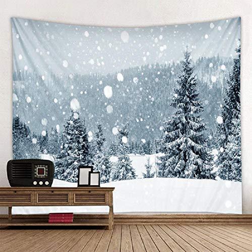 Fiesta de Navidad tapiz de pared decoración de arte manta decoración del hogar escena de nieve de Navidad árbol de Navidad muñeco de nieve 150X200CM