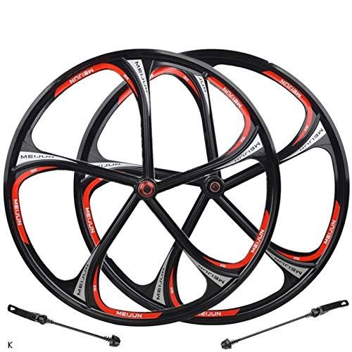 Heding Schnellwechselachsen Fahrradzubehör Bike-Radsatz 26-Zoll-Magnesium-Legierung Felge MTB-Fahrrad-Vorderer Hinterrad Schnellspanner 8-10-Drehzahl-Scheibenbremse Rennrad Cyclocross Fahrradräder