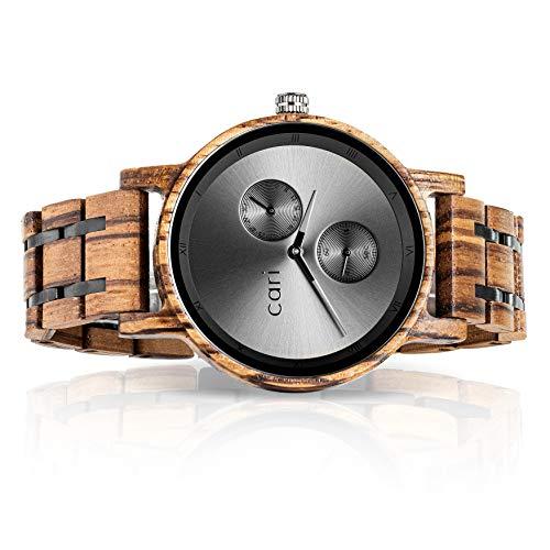 Cari Damen & Herren Holzuhr 40mm - Holz-Armbanduhren aus Zebrano, Padouk, Leadwood...