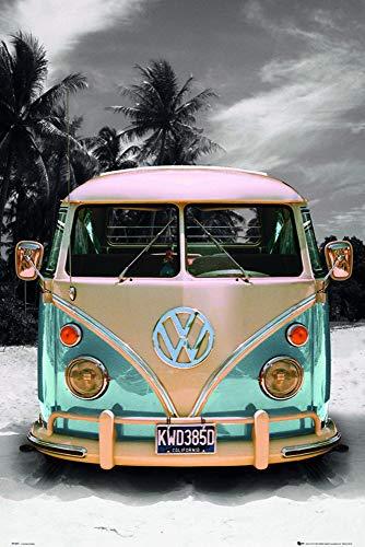 Close Up VW Transporter Poster Love California Camper (61cm x 91,5cm) + 2 St. Schwarze Posterleisten mit Aufhängung