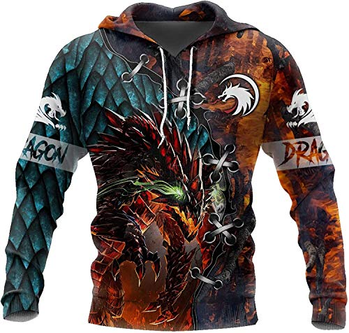2021 Männer Wikinger Hoodie, Nordic Mythology 3D Druck Odin Tattoo Pullover Sweatshirt, Mode Casual Street Harajuku Hoodie (Color : Tattoo and Dungeon Dragon, Size : 3X-Large)