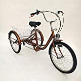 WUPYI2018 24 Zoll Dreirad Für Erwachsene,6 Speed Erwachsene Fahrrad Dreirad Trike Cruise Bike mit Einkaufskorb und Scheinwerfern,für Outdoor Sport Einkaufen (Gold)