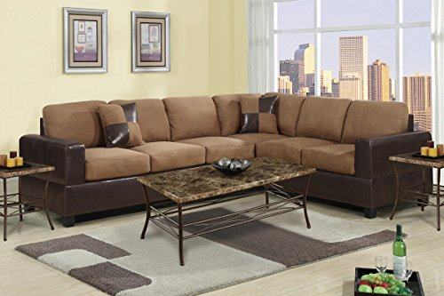 2 Piece Classic Large Microfiber and Faux Leather Sectional Sofa with Matching Accent Pillows – Colors Hazelnut Brown, Chocolate, and Red (Hazelnut) by Divano Roma Furniture