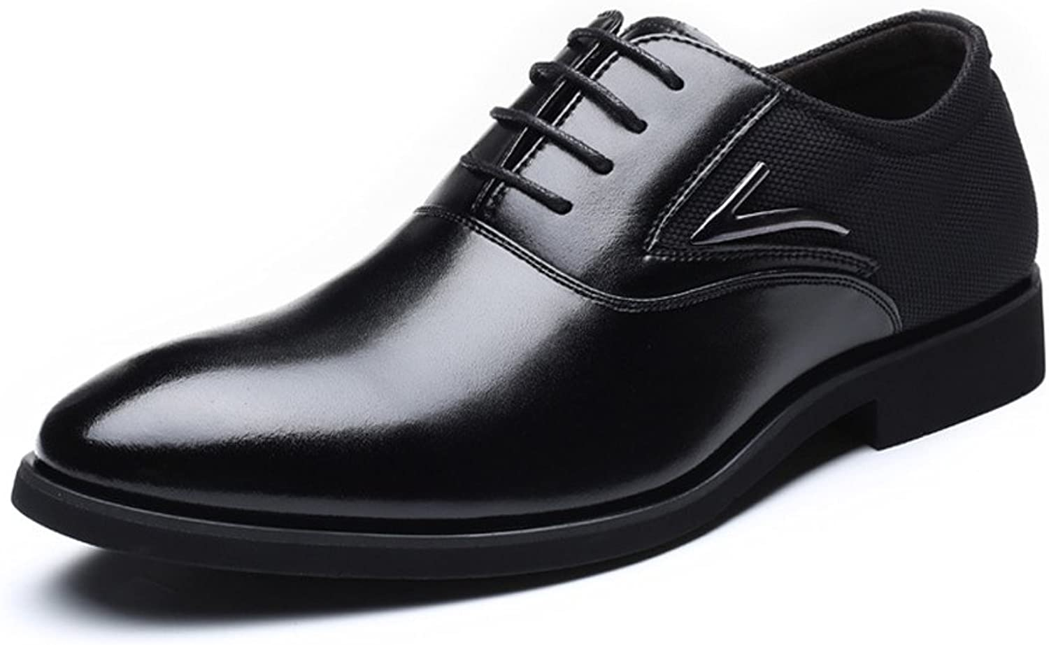 ZLQ Men's Formal Business shoes Smooth PU Leather & Canvas Splice Upper Lace Up Breathable Lined Oxfords Breathable shoes