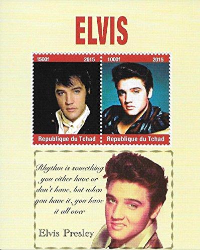 Francobolli da Collezione - Elvis Presley The King of Rock Musica MNH Foglio miniatura/Ciad / 2015