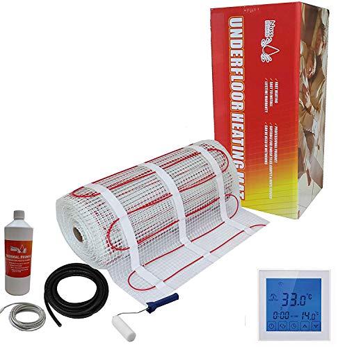 Nassboards Premium Pro - Elektrischer Fußbode Heizset Fußbodenheizung 150w - 24m2 - Weißer Touchscreen-Thermostat