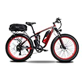 Cyrusher XF800 750W Electric Bike 264 Fat Tire Mountain Ebikes 7 Speeds Snow Beach Electric Bicycles with 13ah Battery and Bag Rack for Men (Red)