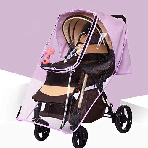 Universal Baby Buggy Pushchair kinderwagen Regenhoes Regenhoes Weerscherm Winddicht Stof Sneeuw Reizen Buiten EVA Transparant, Paars