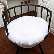 Noahas Faux Fur Sheepskin Silky Seat Cushion, Home Decor Long Wool Area Rugs Carpet, Soft Fluffy Plush Chair Seat Pads Universal Fit Home Office Restaurant Chair, 1.5ft White-Round