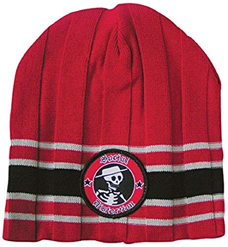 Distortion social beanie bonnet cap red black stripes bonnet en tricot rouge