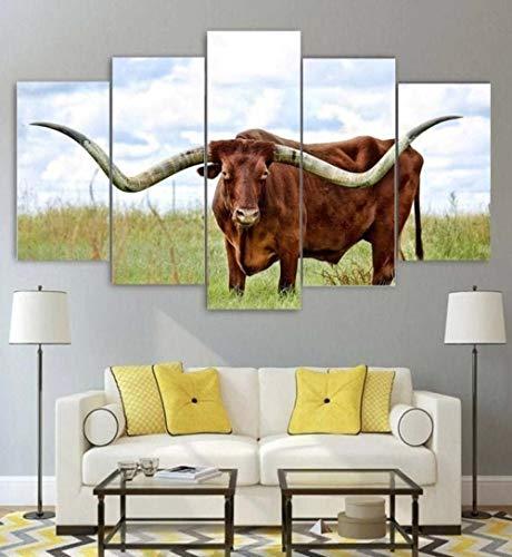Kunstdruck Bilder 5 Teile Wandbilder Texas Longhorn 5 Teiliges Wandbild Moderne Dekoration Leinwand Bilder Schlafzimmer...
