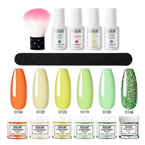 12 piezas de polvo de inmersión para uñas, 6 colores de uñas holográficas en polvo para manicura, secado natural, sin lámpara, juego de polvos de inmersión para decoración de uñas (E)