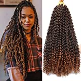Passion Twist Hair Water Wave Crochet Braids Ombre Colors Braiding Hair for Passion Twist Crochet Hair Long Bohemian Locs Goddess Locs Hair Extensions (7Packs, 22Inch, T30#)