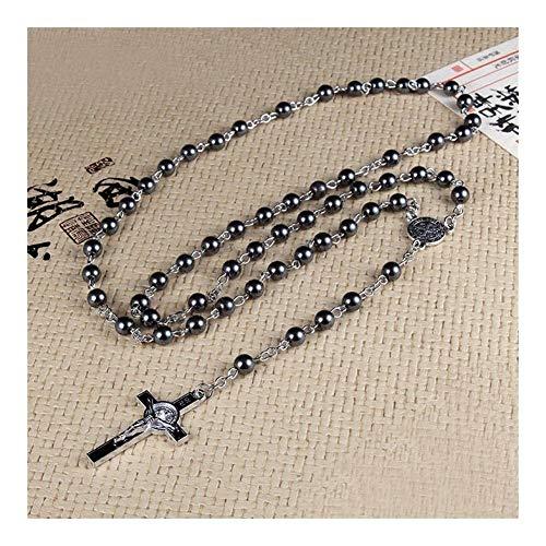LDGR Alto Grado de hematita Piedra gotea Collar con Jesús Cruz Largo del Colgante joyería Oración Católica Retro Delicado (Color : A)