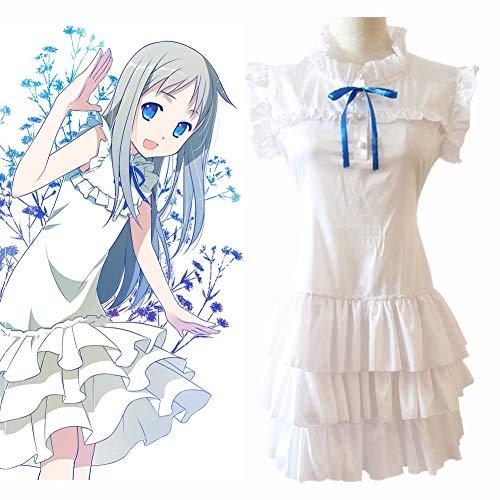 GGOODD Anime Anohana Meiko Honma Cosplay Kostüm Frau Halloween Weißes Lolita-Lagenkleid Seidenstoff Ärmelloses Kleid,L