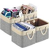 TomCare - Juego de 4 cubos de almacenamiento de almacenamiento de tela plegable, cestas decorativas para armario con asas de cuerda de algodón para organizar cubos, estanterías, armarios...