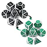 Haxtec Color Shifting Metal DND Dice Set Temperature Sensitive Polyhedral D&D Dices for RPG Dungeons and Dragons-Silver Black Green Shift