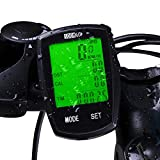 SOON GO Bicycle Speedometer Wireless Bike Computer Cadence IPX6 Waterproof Bike Odometer Speedometer Multi-Functions with Backlight, Temperature, User A/B, Stop Watch, Calorie Counter