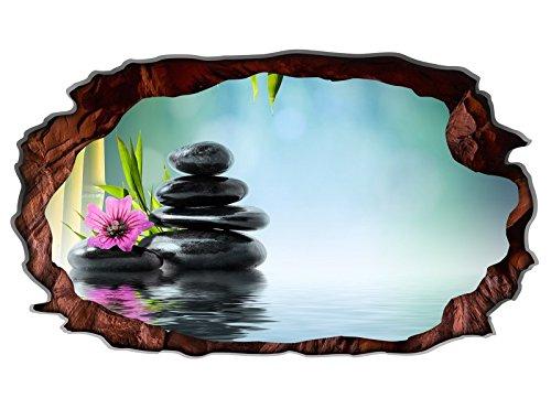 3D Wandtattoo Wellness Feng Shui Steine Orchidee Wandbild Yoga selbstklebend Wandmotiv Wohnzimmer Wand Aufkleber 11E738, Wandbild Größe E:98cmx58cm