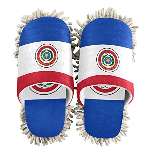 Zapatillas de limpieza unisex de la bandera de Paraguay para limpiar el suelo