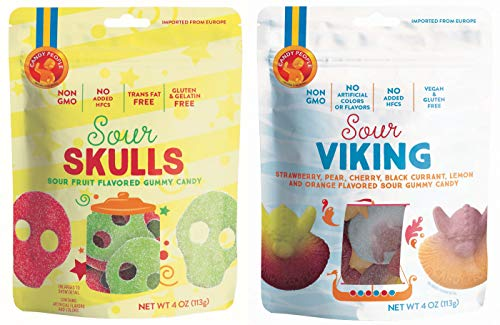 Candy People Sour Skulls and Sour Vikings Fruit Flavored Swedish Gummy Candy 4 Ounce – Non-GMO, Gluten-Free, No Added High Fructose Corn Syrup (2 Pack)