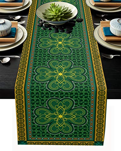 St. Patrick's Day Table Runner-Cotton linen-Long 120 inch, Retro Celtic Knots Lucky Clover Irish Tablerunner for Kitchen Coffee/Dining/End Table Bedroom Living Room,Scarfs Decor for Holiday Dinner