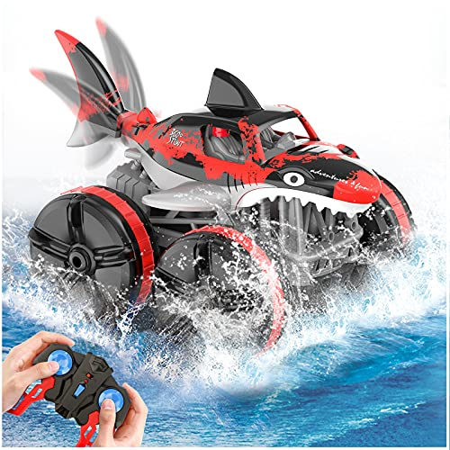Baztoy Amphibious Remote Control Car, 2.4 GHz 4WD Remote Control Boat, 1:14 Scale Waterproof Off Road RC Shark Truck with Rechargeable Battery, Toy Cars Gifts for Kids Boys Adults (Red)