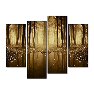 4 Pieces Modern Canvas Painting Wall Art The Picture For Home Decoration Fairytale Lake In A Strange Forest In Autumn With Fog And Light Landscape Forest Print On Canvas Giclee Artwork For Wall Decor
