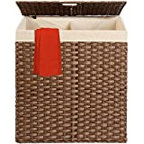 Best Choice Products Wicker Double Laundry Hamper, Rustic Divided Storage Basket w/Easy Assembly, Removable Washable Linen Liner Bag, Lid, Handles - Dark Brown