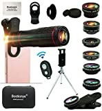 Cell Phone Camera Lens Kit,14 in 1 Universal 22x Zoom Telephoto,0.63Wide Angle+15X Macro+198°Fisheye+2X