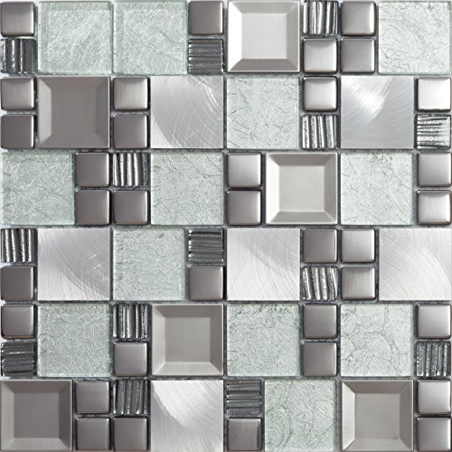 Mosaico de Vidrio y Aluminio en Malla ASX-Light, Plata, 8 mm, 30 x 30 cm