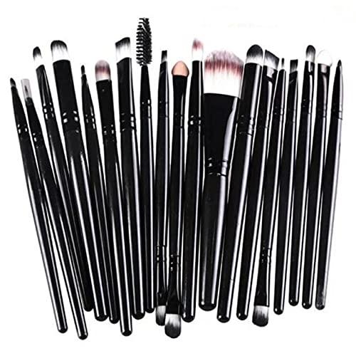 Ensemble de pinceaux de maquillage 7/20Pcs Pinceau de fond de teint fard à paupières Outil de maquillage beauté - 20Pcs Noir