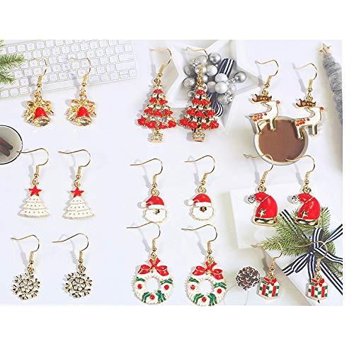 Flysee 9 Pares de Aretes Colgantes de Navidad Pendientes Colgantes de Gota 9 Estilos Joyas Decoración