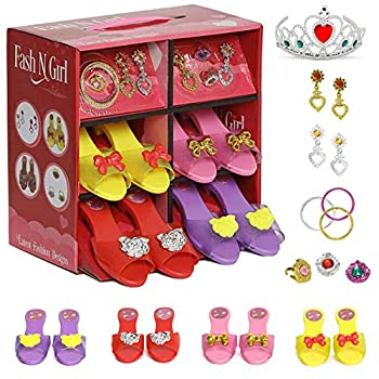 fash n kolor Princess Dress Up and Play Shoe and Jewelry Boutique with Fashion Accessories for Girls Dress Up Age 3-10 yrs Old
