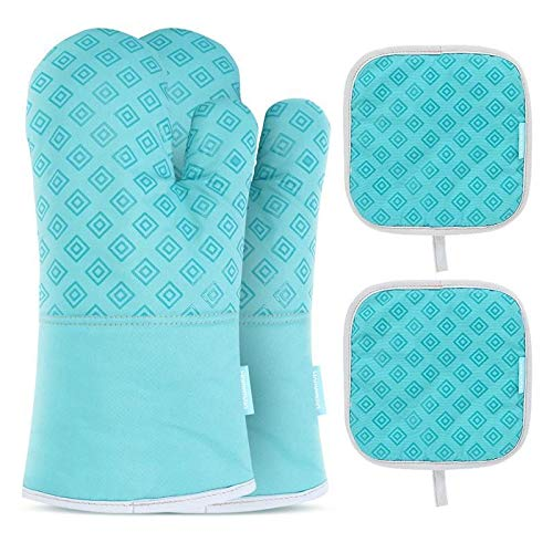 JINSUO 2PCS Kitchen Oven Gloves Set Protective Oven Gloves Oven Mitts With 2PCS Heat Resistant Pot Holder Pad Oven Pot Holders (Color : Blue)