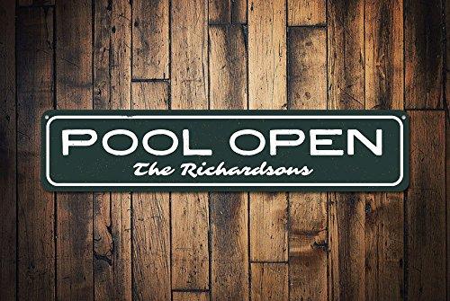 Zwembad Open Sign, Gepersonaliseerde Familie Naam Sign, Aangepaste Familie Zwembad Sign, Metalen Zwembad Patio Decor, Zomer Teken - Kwaliteit Aluminium Zwembad Huizen, Metalen Tekens Tin Plaque Wall Art Poster 18