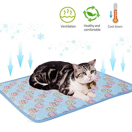 perfecthome Pet Cat Ice Pad, Summer Cool Pad Cold Sense Ice Silk Kennel Mat Pet Cooling Pad