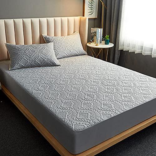 FJMLAY Sábanas ajustablesperfecto para el colchón, sensación Suave,Sábana Bajera Acolchada Impermeable, Almohadilla Protectora para Dormitorio apartamento-Grey_2_90cmx200cm_