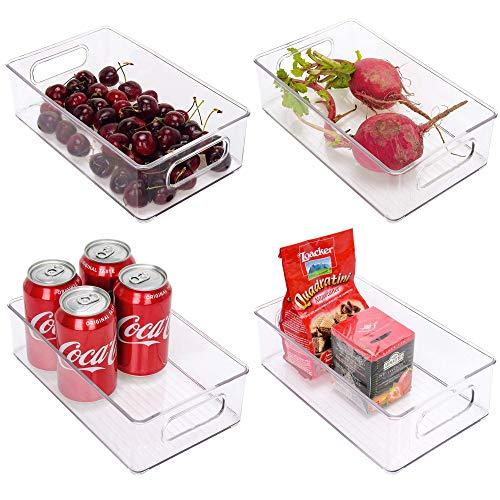 StorageWorks Small Stackable Fridge Organizer, Clear Plastic Organizer Bins for Pantry, Kitchen Storage Bins with Handles, Refrigerator Storage Bins, BPA-Free, 10