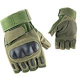 DDK Half Finger Gloves Tactical Motorcycle Cycling Fingerless Working Gloves Hunting Gloves (Fingerless Green, XL)