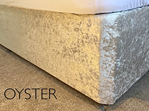 Crushed Velvet Elasticated Bed Valance/Divan Base Cover 12 Colours, (Super King, Oyster)